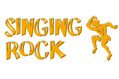 Prvé ostré logo Singing Rock s tancujúcim idiánom.